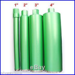 1, 2, 3 & 4 Combo Wet Diamond Core Drill Bit for Concrete Premium Green