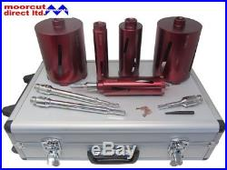 Dry Diamond Core Drilling Kit 11pc with Sds & Hex Arbours & Extensions 38-127mm