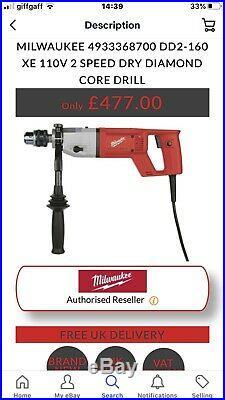 Milwaukee DD2 160 XE 110Volt Heavy Duty Diamond Hammer Core Drill