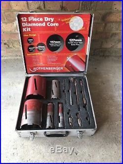 Rothenberger 12 Piece DRY Diamond Core Drill Bit Set 89020 Extensions & Chuck